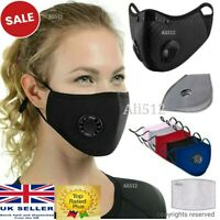 Face Mask Covering Washable Reusable Cotton 10 x PM2.5 Filters Multi Vents/Valve