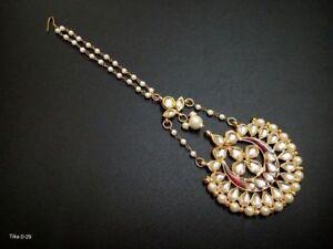 White Kundan Pearl Gold Tone Indian Bollywood Tikka Set Bridal Women Jewelry