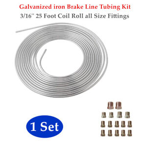 Brake Line Tubing Kit 3/16''  25 Foot Coil Roll Fittings Galvanized iron General