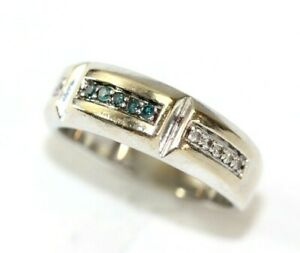 Mens 10K WHITE GOLD, Blue/Clear DIAMOND Band/Ring: Size 10 - 6.7 Grams