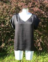 PRADA black satin short sleeves hi low V-neck long tunic blouse top 42 M