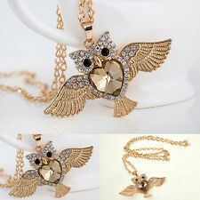 Charm Pendant Sweater Chain Heart Love Crystal Owl Necklace Lady Fashion Jewelry