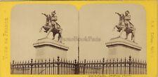 Cherbourg Statue Napoléon France Photo Stereo BK Paris Vintage Albumine ca 1870