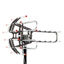 Outdoor Waterproof Amplified Antenna HD TV 36dB Rotor 360°UHF/VHF/FM 150 Miles