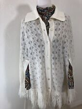 Vtg 70s Knit Poncho Ben Goodman Wpl 4302 One Size Cream Cape Cocoon Button Up