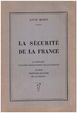 MARIN Louis - LA SECURITE DE LA FRANCE - 1946 - DEDICACE