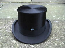 Extra Large Continental Black Silk Top Hat Sz 7 3/8 Excellent