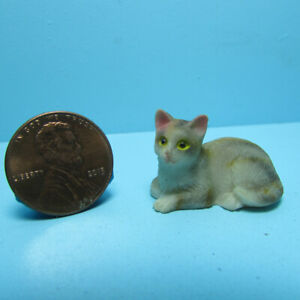 Dollhouse Miniature Small Grey Tabby Cat for a Pet Laying Down  IM65491