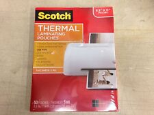 """Scotch 3M Thermal Laminating Pouches, 5 mil, 8.9"""" x 11.4"""", Pack of 50, Tp5854-50"""