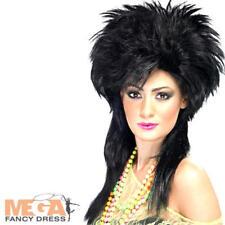 80s Black Punk Wig Ladies Fancy Dress 1980s Rock Chick Adults  Costume Accessory