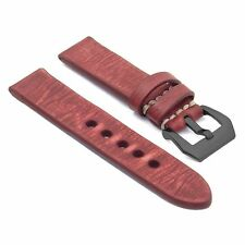 StrapsCo Distressed Vintage Red Leather Watch Band Strap w/ Black Pre-V Buckle
