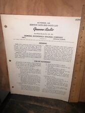 Grunow Radio Model 614,618,625 Service Notes & Parts List Original Copy,1936.