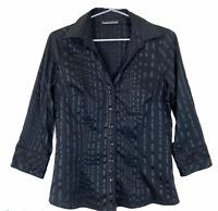 Jacqui E Womens Black Striped Button Up Long Sleeve Blouse Size 10