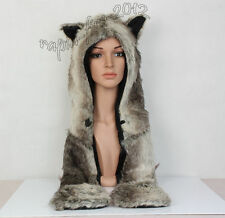 Brown Wolf  Full Hood Hoodie Hat Mittens Glove Button 3 IN 1 Function Animal Hat
