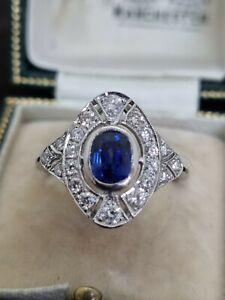 Contemporary Platinum Sapphire & Diamond Ring