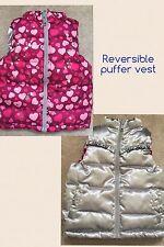 Girls PUFFER VEST REVERSIBLE SILVER PINK HEARTS 12M 24M 2T Healthtex Fall Winter