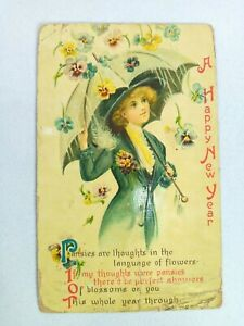 Vintage Postcard A Happy New Year Pansies in the Flowers Posted 1910 Embossed