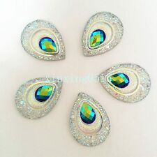 Hot 10pcs AB Resin drop Peacock eye Flatback Rhinestone Wedding  2 Hole buttons