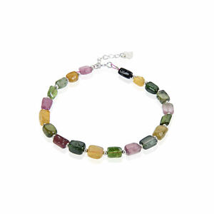 """Watermelon Tourmaline Bracelet with Silver Plated Clasp 7.5"""" Length"""