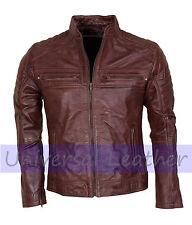 Cafe Racer Vintage Brown Mens Real Leather Motorcycle Bikers Leather Jacket Sale