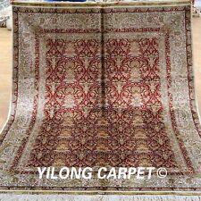 Yilong 5'x7' Medium Persian Silk Rug Hand Knotted Pictorial Carpet Handmade 1914