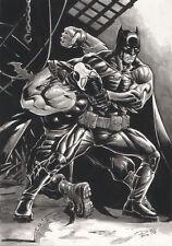 DC Comics BATMAN vs BANE by Paco Baidal Original Art 11x17 Gotham FOX TV