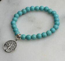 Tibetan Silver Tree Of Life Charm Turquoise Beaded Boho Elasticated Bracelet 368