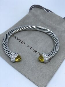 David Yurman Sterling Silver  7mm Cable Candy Lemon Citrine & Diamond Bracelet