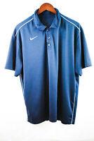 Nike Dri-Fit Mens Large Short Sleeve Dark Blue White Golf Polo Shirt