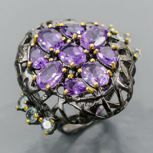 One of a kind SET Amethyst Ring Silver 925 Sterling  Size 6.5 /R178528