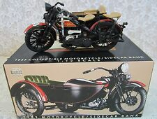 Harley-Davidson 1933 Motorcycle / Sidecar Bank Die-Cast 1:12 Scale Black NEW COA