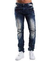 Smoke Rise Men's Stretch Slim Punctured Denim Jeans