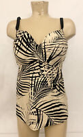 Cacique Tankini TOP 38DDD 38 DDS Swimsuit Bathing Suit Beige Black Underwires