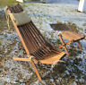 Wooden Patio Chair Recliner Foldable Garden Lounge Seat Natural Wood Furniture