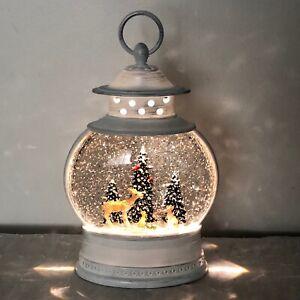 "Snow Globe Lantern White Light Up Deer Forest Animals Lamp Illuminating 11"""
