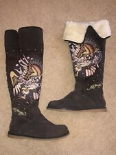 Christian Audigier Ed Hardy Fur Born Free Brown Suede Knee High Tall Boots 6.5