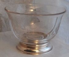 "5.25"" Vintage Divided Bowl with Sterling Silver Base Floral Fern Condiment Dish"