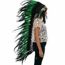 Extra Long Native American Indian style Feather Headdress - Green-Black Rooster