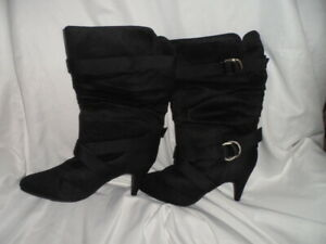 Women's High Heel Buckle Black Suede Leather Boots Size 9 M