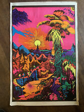 LOST HORIZONS Psychedelic Hiking Flocked Blacklight Poster 1970's