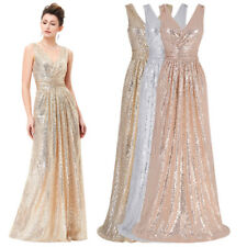 Rose Gold Maxi Sequins Bridesmaid Dress Evening Formal Party Cocktail Gown Prom