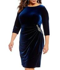 ALEX EVENINGS® Plus 22W Imperial Blue Velvet Ruched Waist Embellished Dress NWT