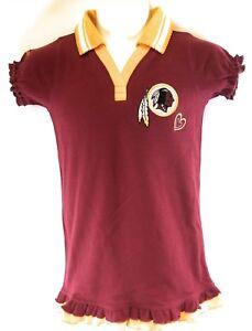 Kids Youth Girls Reebok Washington Redskins NFL Football Maroon Ruffle Shirt