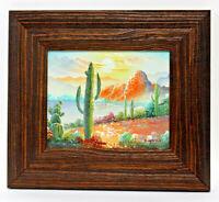 Desert Cactus Sunset 8 x 10 Art Oil Painting on Canvas w/Custom Wooden Frame