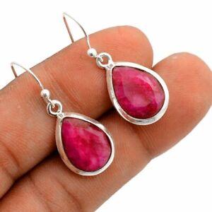 """Ruby Solid 925 Sterling Silver Earrings Jewelry 1.12"""" ZE-074"""