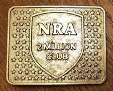 VTG NRA National Rifle Association 2 Million Club Gold Tone Metal Belt Buckle