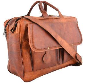 Herren RealGoat Leder Vintage Braun Messenger Bag Schulter Laptop Tasche Aktenko