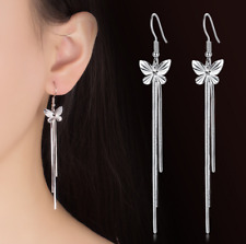 Womens Butterfly 925 Sterling Silver Plated Earrings Hook Drop Dangle Ear Chain