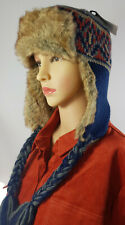 MEN WOMEN KNITTED FAUX FUR TRAPPER LINED SKI WINTER EAR FLAP BOBBLE HAT Dec08-1