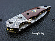 Custom Handmade Damascus Folding Knife Damascus Bolster Micarta , Mosaic Handle